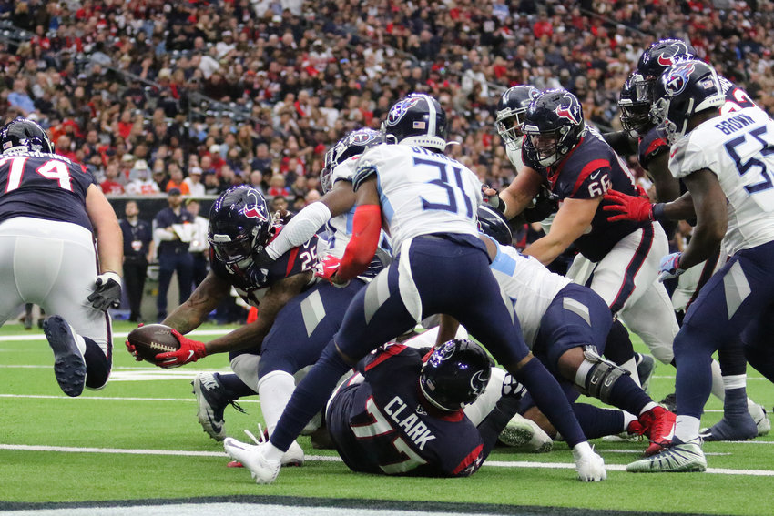 Houston Texans running back Duke Johnson (25) dives for a touchdown on Sunday, Dec. 29, against the Tennessee Titans at NRG Stadium. The Titans beat the Texans, 35-14.