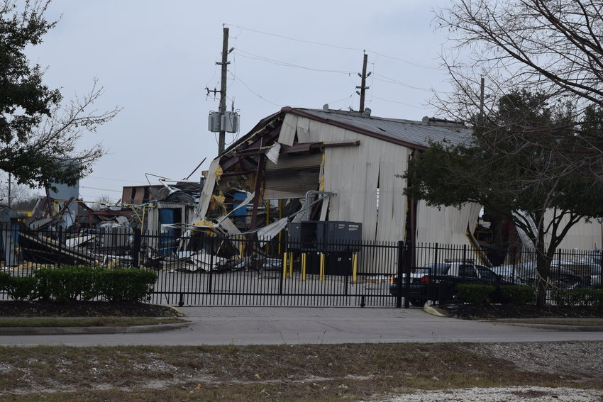 Law enforcement vehicles are stationed at the site of the Jan. 24 explosion at Watson Grinding and Manufacturing in northwest Harris County Feb. 4. The plant exploded when a 2,000-gallon tank of propylene was somehow ignited. An investigation into the incident is still ongoing.