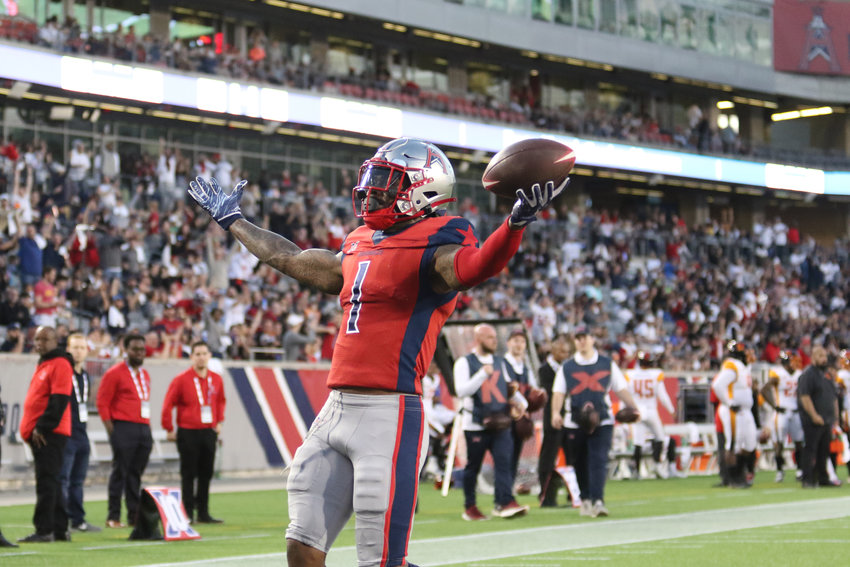 Houston receiver Khalil Lewis celebrates a touchdown catch during the Roughnecks' win over Los Angeles on Feb. 8 at TDECU Stadium in Houston.