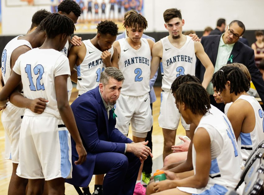 Katy Tx. Jan. 24, 2020: Paetow's Michael Niemi (head coach) talks to his players during a 5A Region III District 19 basketball game between Paetow Panthers and Magnolia West Mustangs at Paetow HS.  (Photo by Mark Goodman / Katy Times)