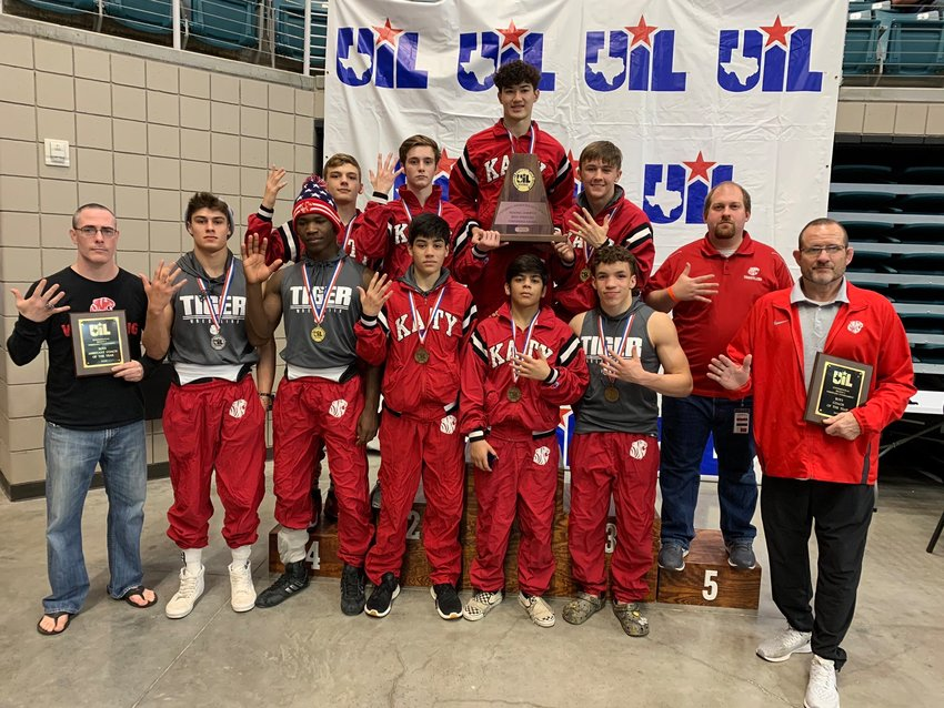 Katy High's boys wrestling team won its fifth straight regional championship at the Region III-6A tournament on Feb. 15 at the Merrell Center.