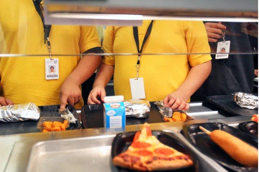 Students grab lunch at a school in San Antonio.