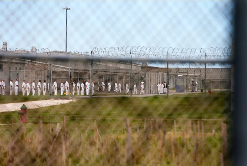 Inmates at a correctional facility in Texas.