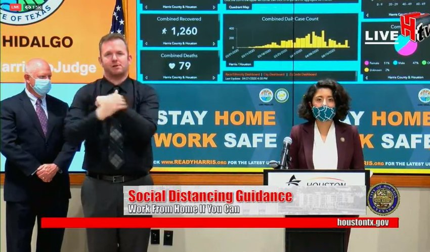 Harris County Judge Lina Hidalgo (right) has issued an order for residents to begin wearing face masks in public beginning this coming Monday during an April 22 press conference. She also explained that the sign language interpreter (center in black) was not wearing a mask because lip reading is part of how he communicates with the deaf. Houston Health Authority Dr. David Persse (far left) said he would be trying his hand at making a non-medical-grade mask at home.