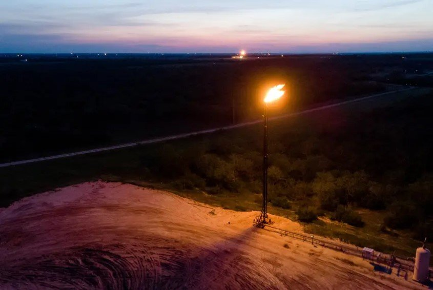 A gas flare in the Eagle Ford oil patch south of San Antonio.