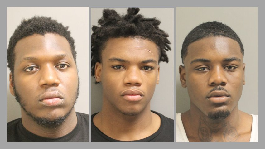 Suspects (from left to right) Datavian Lee McDonald, Christopher Calob Batiste and Jadarious Jaymond Polley as well as a 16-year-old accomplice were arrested Thursday morning. They are being charged with multiple crimes associated with the robbery of a Shipley Do-Nuts location near Katy Mills Mall.