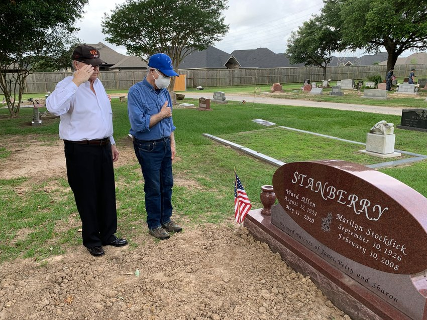 Attendees at Sunday's ceremony pay their respects to former Katy Mayor Ward Stanberry and his wife Marilyn. Stanberry was a World War II veteran and local entrepreneur.