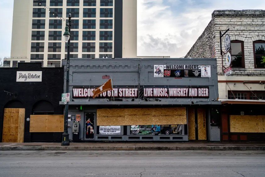 Bars were shuttered on Austin's Sixth Street during the early stages of the coronavirus pandemic.