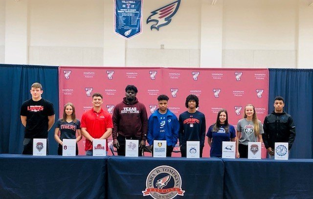 Nine Tompkins student-athletes signed their letters of intent to continue their academic and athletic careers at the next level on Feb. 5. Elina Sinz, second from left, was among the Falcons at the signing ceremony and will join the Auburn Tigers next year. Sinz was recently honored with all-area first-team recognition from the HAGCA.