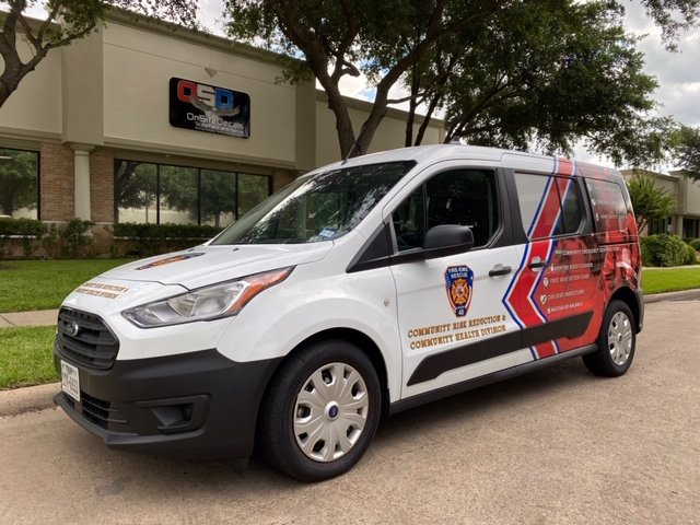 This new van will be used by Harris County Emergency Services District 48 to conduct community outreach programs to improve health and safety outcomes for Katy area residents.