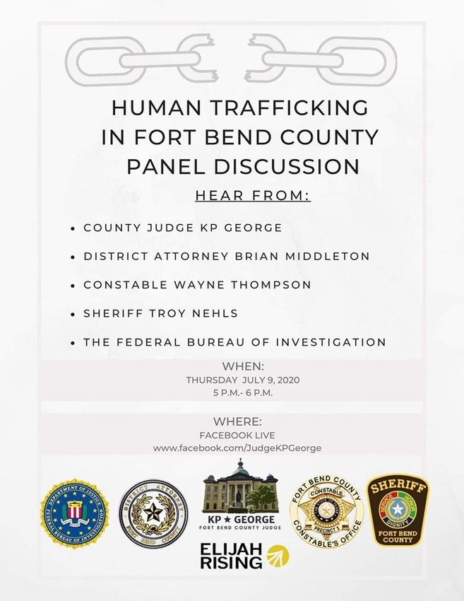 Fort Bend County Judge KP George held a Facebook Live panel discussion on human trafficking alongside several community leaders, including District Attorney Brian Middleton and Precinct 3 Constable Wayne Thompson.