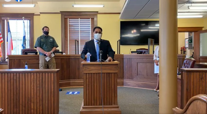 Fort Bend County Judge KP George held a press conference on July 14 to announce he is raising the county risk level to red.