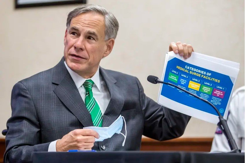 Gov. Greg Abbott speaks about the categories of medical surge facilities during a press conference at the Texas Department of Public Safety in Austin on Tuesday, June 16, 2020.