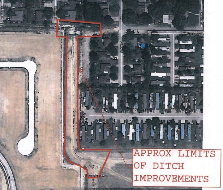 Katy City Council approved a purchase of land in the area highlighted in red during their July 27 meeting. The land purchase should facilitate a more robust drainage channel to let water flow out of the Riceland Terrace Subdivision and into the Town Park Drainage Pond to the south and east of the red-bordered area.