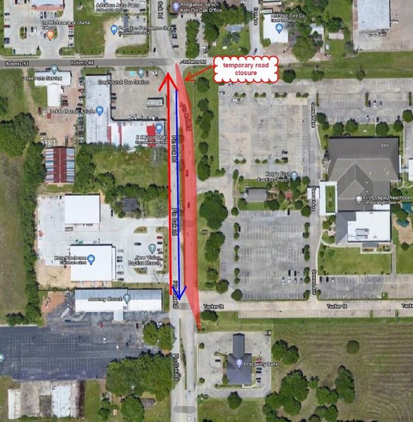 Traffic has been adjusted along Pin Oak Road in downtown Katy while a sewer line is repaired. Drivers in the area should be aware of the change in flow and pay extra attention.