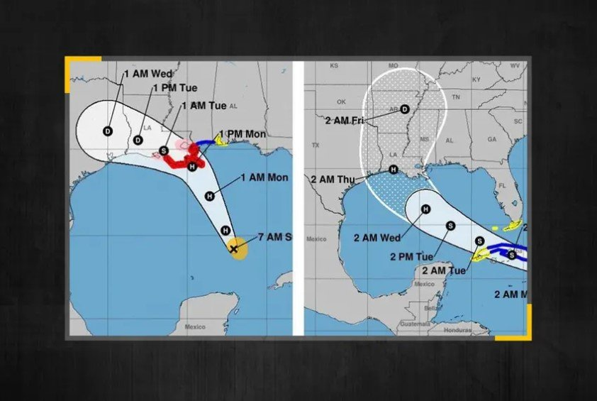 From left, current forecast models show Hurricane Marco making landfall near Texas and Louisiana on Monday afternoon, followed by Tropical Storm Laura also arriving in the area as a hurricane early Thursday.    With two storms gaining strength in the Gulf of Mexico, Abbott on Sunday declared a state of disaster in coastal counties and warned Texans to remember coronavirus health guidelines.