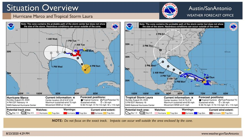Hurricane Marco is projected to come across the coast of Louisiana and into Texas early in the week while Tropical Storm Laura is projected to enter Louisiana and head north. The storms may merge, though weather models are not firmly set as yet. Readers are encouraged to be prepared for the incoming storms.