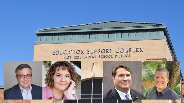 Michael Dillard (far left) will face Leah Wilson (pink shirt) in the election for Katy ISD Board of Trustees Position 4 while incumbent Bill Lacy (purple tie) will campaign to keep his position against challenger Greg Schulte for the Position 5 seat in the Board of Trustees race.
