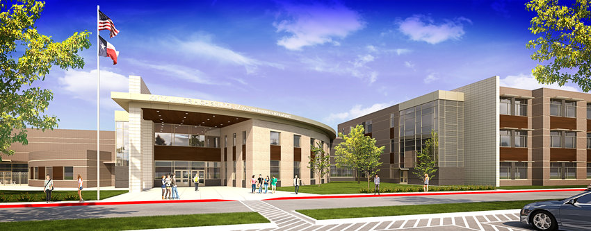 Once completed, Haskett Junior High is expected to look as shown in this rendering. The new facility is located at 25737 Clay Road near the intersection of Clay and Katy Hockley roads. The new facility is estimated to have a total cost of about $65.6 million.