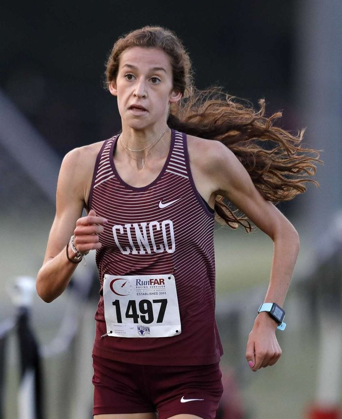 Cinco Ranch senior Sophie Atkinson defender her District 19-6A cross country championship Friday morning at Bear Creek Park.
