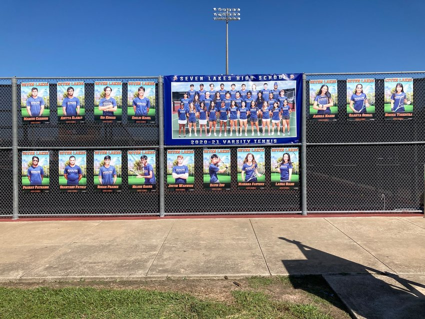 """With a picture of the team and individual player photo banners that surround his team's court on campus, Seven Lakes tennis coach Kevin McIlvain tweeted on his account late Friday evening: """"Unfortunately, our season comes to an end from the sidelines in the Area Round due to the school being closed for matters out of our control. Thanks for your hard work and doing things the right way Spartan Tennis!"""""""