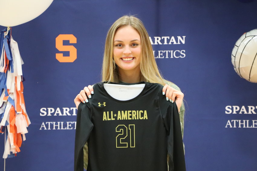 Seven Lakes senior outside hitter Ally Batenhorst was awarded with her Under Armour All-American jersey on Wednesday morning after being selected as one of 11 players to the first team.