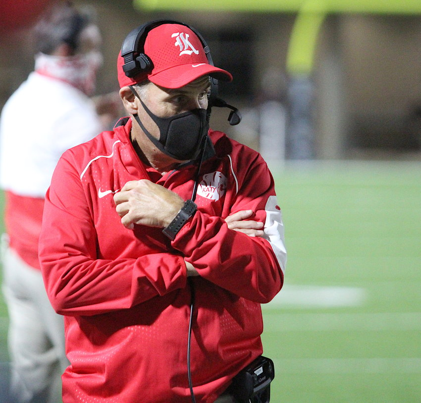 Katy coach Gary Joseph looks on during Thursday's game against Tompkins at Legacy Stadium. The Tigers' 24-19 loss snapped a 75-game district winning streak.