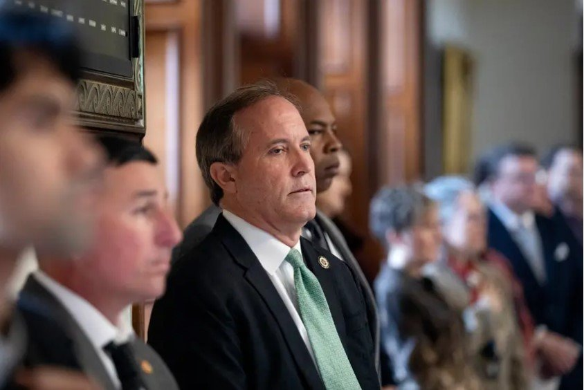 Texas Attorney General Ken Paxton attends the inauguration ceremony of Judge Michelle Slaughter at the Texas Capitol on Jan. 11, 2019. A lawsuit filed by former aides against Paxton paints the clearest picture yet about what motivated the whistleblowers to come forward against Paxton, the state's top legal authority, and the retribution they say they experienced after they made that report.
