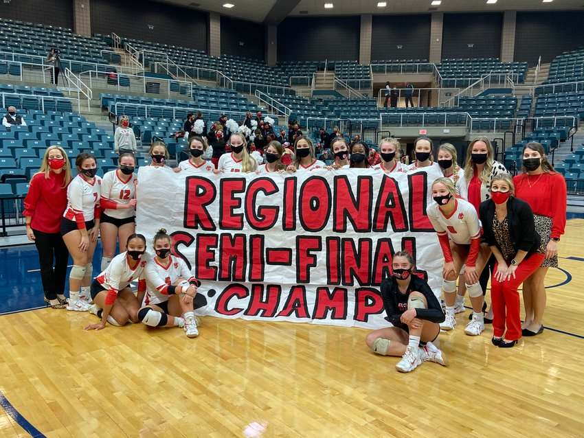 Katy High is in the volleyball regional final for the first time since 1993 after beating Clear Springs, 3-1, in their Class 6A regional semifinal on Tuesday at the Merrell Center.
