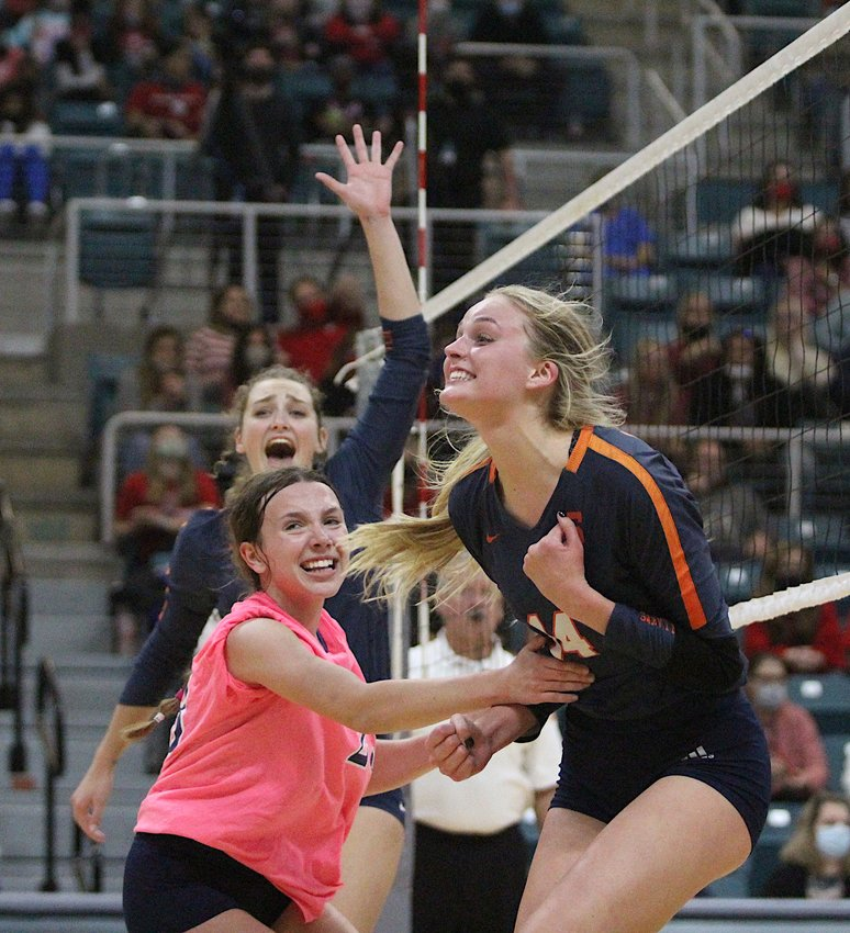 Seven Lakes senior Ally Batenhorst celebrates during the Spartans' 3-1 win over district rival Katy High in their Class 6A Region III final on Friday, Dec. 4, at the Merrell Center.