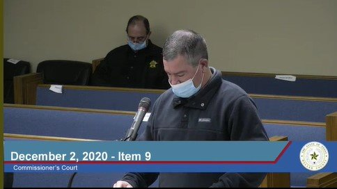 Waller County Fire Marshall Brian Cantrell discusses a debris removal contract and issues related to COVID-19 at the Waller County Commissioners Court Meeting held Dec. 2.