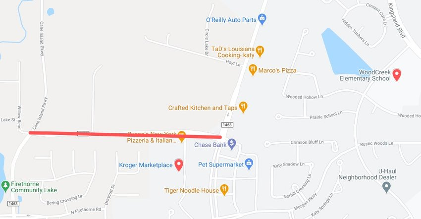 The red line in the map above depicts the portion of FM 1463 that has been closed due to a gas leak. Katy Fire Department, CenterPoint Energy and other appropriate personnel are on-scene working to repair the leak.