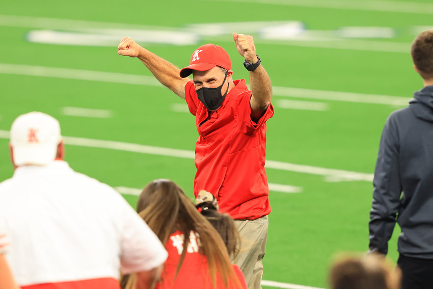 Katy coach Gary Joseph celebrates after the Tigers beat Cedar Hill, 51-14, at AT&T Stadium on Saturday afternoon to win the Class 6A-Division II state championship.