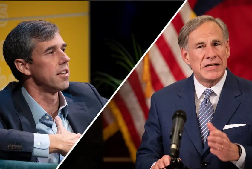 Former U.S. Rep. Beto O'Rourke, left, is considering a 2022 run against Gov. Greg Abbott.