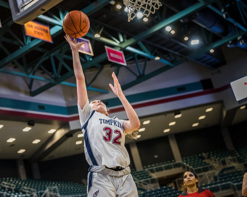 Sophomore Macy Spencer and the No. 14 state-ranked Tompkins Falcons are one of four Katy ISD teams playing in a playoff quadruple-header at the Merrell Center on Saturday, Feb. 20.