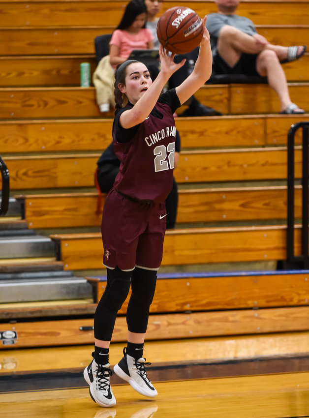 Cinco Ranch senior guard Abby Bala (22), shown here in this January 2020 file photo, scored a team-high 14 points to go with four steals in the Cougars' area round playoff loss to Cy-Creek on Saturday, Feb. 20, at the Merrell Center.