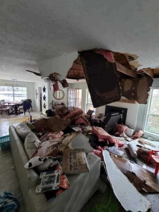 Katy area resident Larry Zammit submitted this photo of his living room after a pipe burst in the crawl-space above the family's lounging area. Homes in Texas, including Katy, are designed to shed heat and keep in cool air-conditioned air, so plumbing is often not insulated sufficiently to protect against severe winter weather.