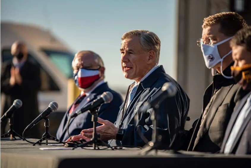 Gov. Greg Abbott during a press conference in Austin on Dec. 17, 2020. Abbott said during a Tuesday press conference that he is rescinding his mask mandate that has been in place for about a year and is also allowing all businesses in Texas to open at 100% capacity.