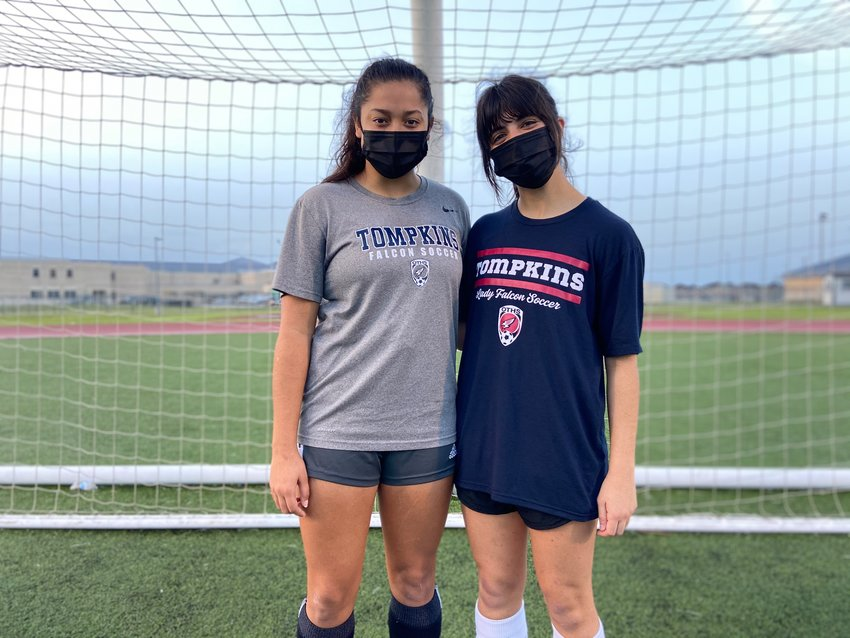 Tompkins senior defensive midfielder Felicia Hernandez, left, and senior attacking midfielder Alyssa Garcia have played significant roles in the Falcons sustaining success despite graduating dominant offensive players from the last few seasons.