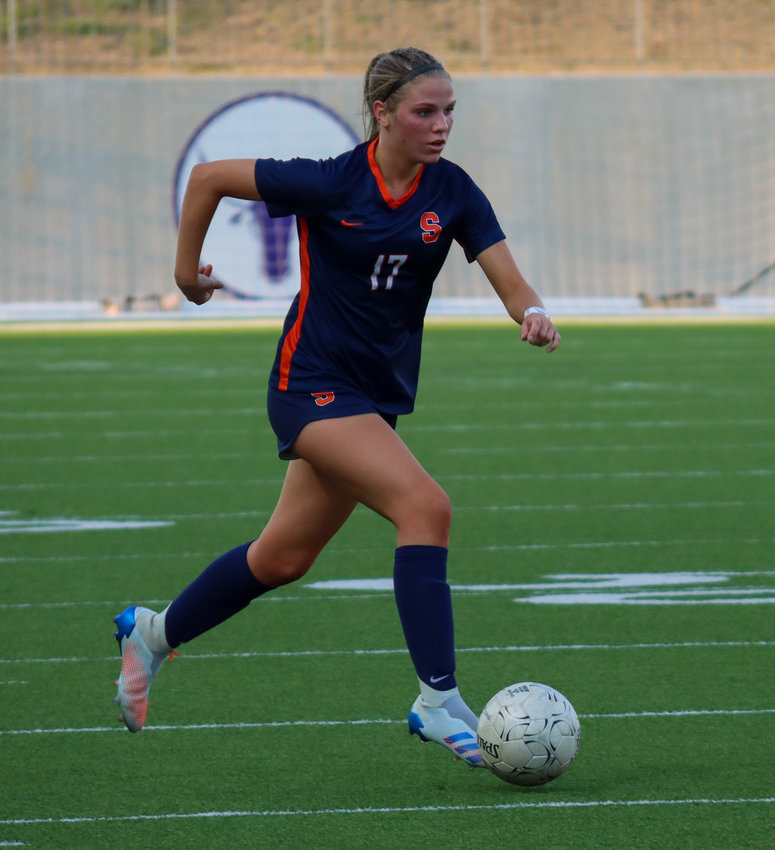 Seven Lakes sophomore forward Haydan Erck notched a hat-trick versus Elkins, scoring three goals in the Spartans' 7-0 Class 6A bi-district playoff win on Friday, March 26, at Legacy Stadium.