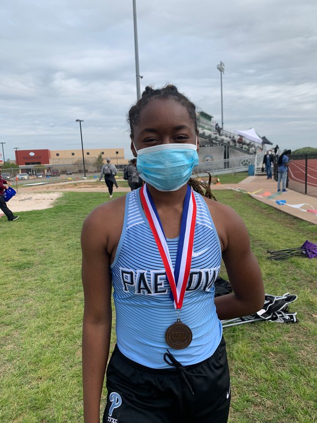 Paetow senior Tumi Onaleye won the 100 hurdles and 300 hurdles and was a member of the Panthers' first place 4x400 relay team at the District 19-5A track and field meet in Brenham. Onaleye also finished second in the triple jump.