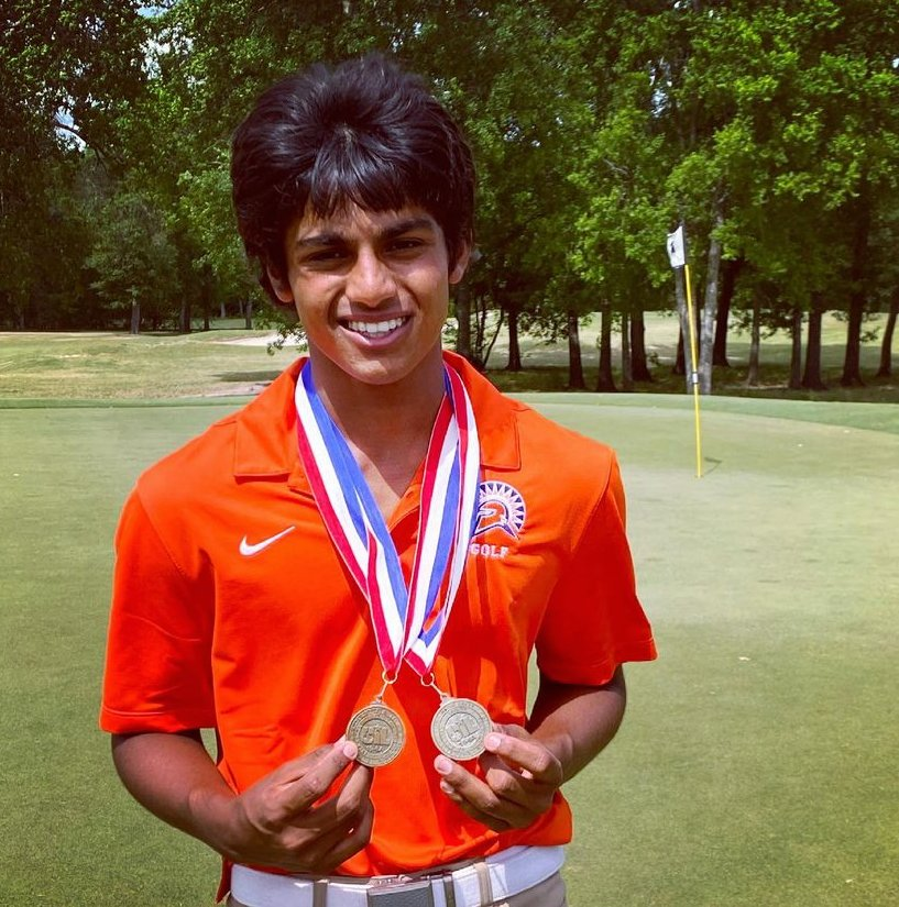 Seven Lakes freshman Shaun Nair won the District 19-6A boys individual golf title with a two-day score of 142.