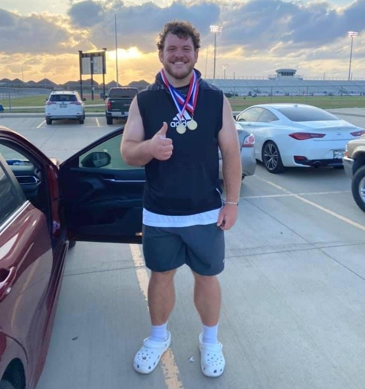Taylor senior thrower Bryce Foster made a dominant impression at the District 19-6A track and field meet last week. Foster's mark of 210-feet, 10-inches in the discus is No. 1 in the nation and No. 3 all-time in Texas. His throw of 65-feet, 3-inches in the shot put ranks No. 2 in the nation.