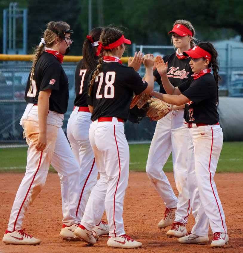 Katy High's softball team won its sixth straight outright district championship via 9-0 win over Taylor on Saturday, April 10.