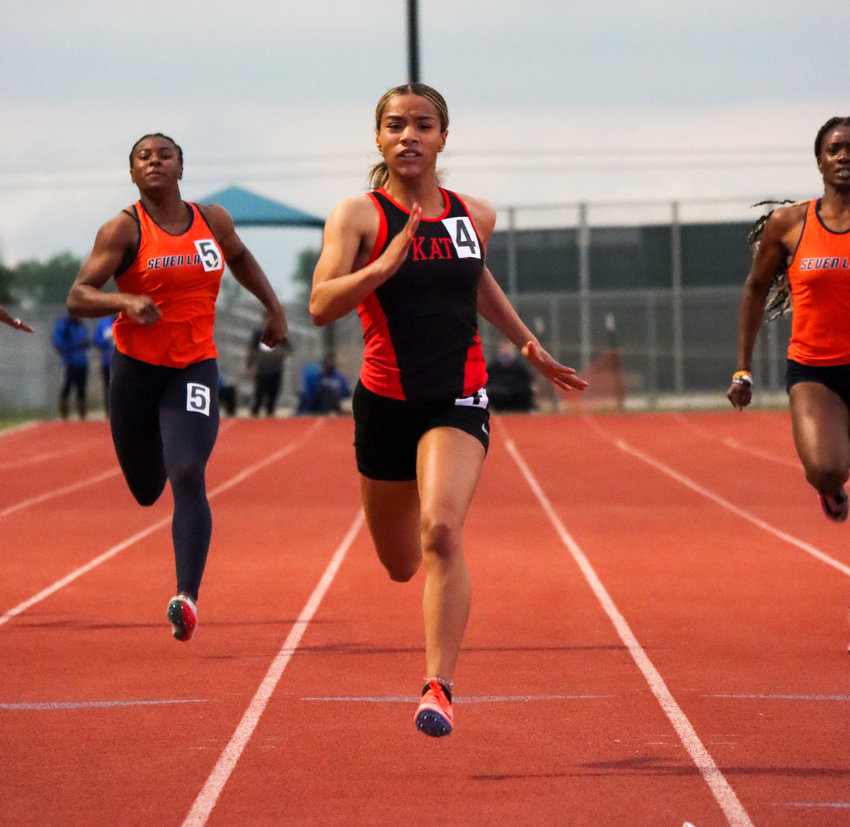 Katy High junior Jada Campos won gold in the 100-meter dash and 200-meter dash and helped the Tigers' 4x400 relay to a fourth-place finish at the 19-20-6A area meet on Thursday, April 15, at Paetow High.