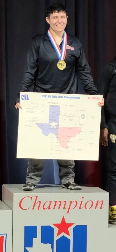 Tompkins senior Kaitlyn Bryant won her second straight undefeated Class 6A state wrestling title on Saturday, April 24, at the Berry Center in Cypress.