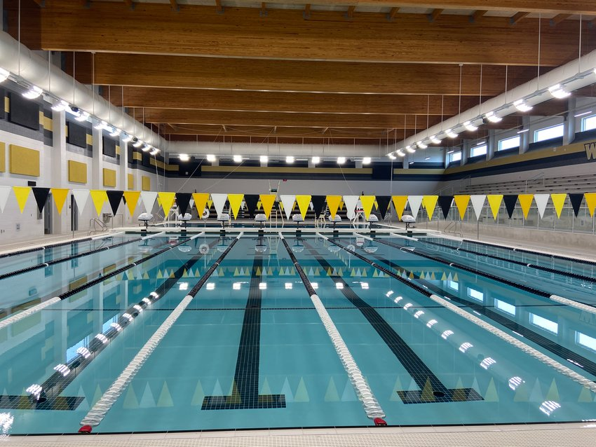 Pictured is the natatorium at Katy ISD's Jordan High School, which opened in August 2020.