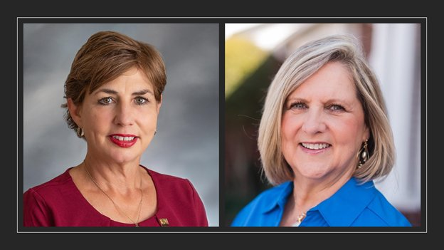 Dawn Champagne (left) will retain her seat as the Position 7 trustee for Katy ISD while Rebecca Fox will rejoin the KISD Board of Trustees after defeating incumbent Susan Gesoff and four other opponents in the Position 6 race.
