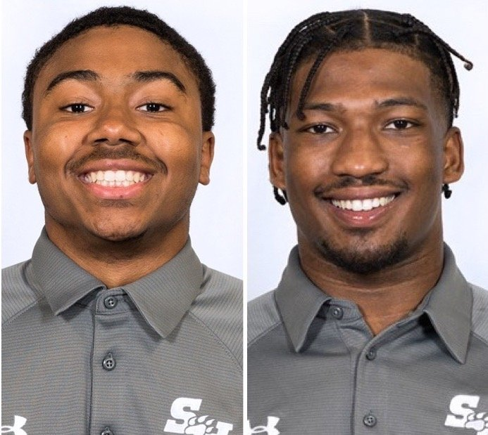 Pictured are former Seven Lakes standout Daniel North, left, and former Katy High standout Jaylen Phillips, two freshmen who enjoyed a FCS championship season at Sam Houston State this spring.
