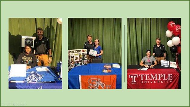 Trey Serrano(左)、Leo Rosebure(右)和Victoria Taylor(中间蓝色)分别签署了天普大学、田纳西州立大学和萨姆休斯顿州立大学的美术项目承诺书。